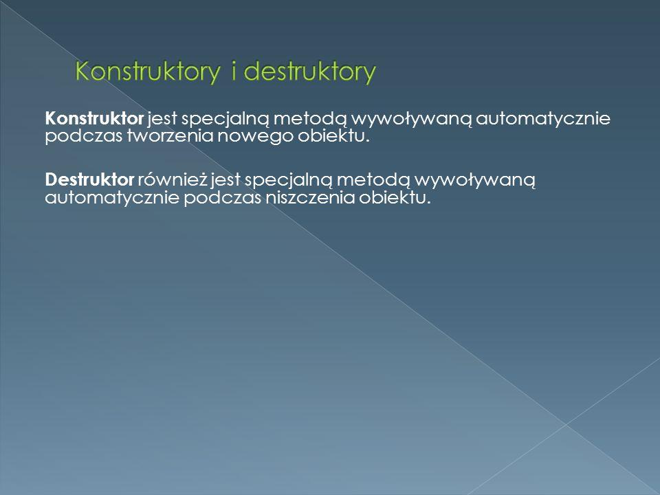 Konstruktor jest specjalną metodą wywoływaną automatycznie podczas tworzenia nowego obiektu.