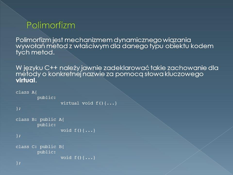 Polimorfizm jest mechanizmem dynamicznego wiązania wywołań metod z właściwym dla danego typu obiektu kodem tych metod.
