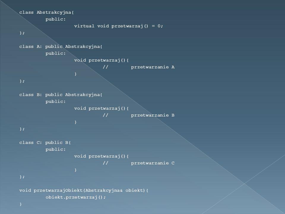 class Abstrakcyjna{ public: virtual void przetwarzaj() = 0; }; class A: public Abstrakcyjna{ public: void przetwarzaj(){ //przetwarzanie A } }; class B: public Abstrakcyjna{ public: void przetwarzaj(){ //przetwarzanie B } }; class C: public B{ public: void przetwarzaj(){ //przetwarzanie C } }; void przetwarzajObiekt(Abstrakcyjna& obiekt){ obiekt.przetwarzaj(); }