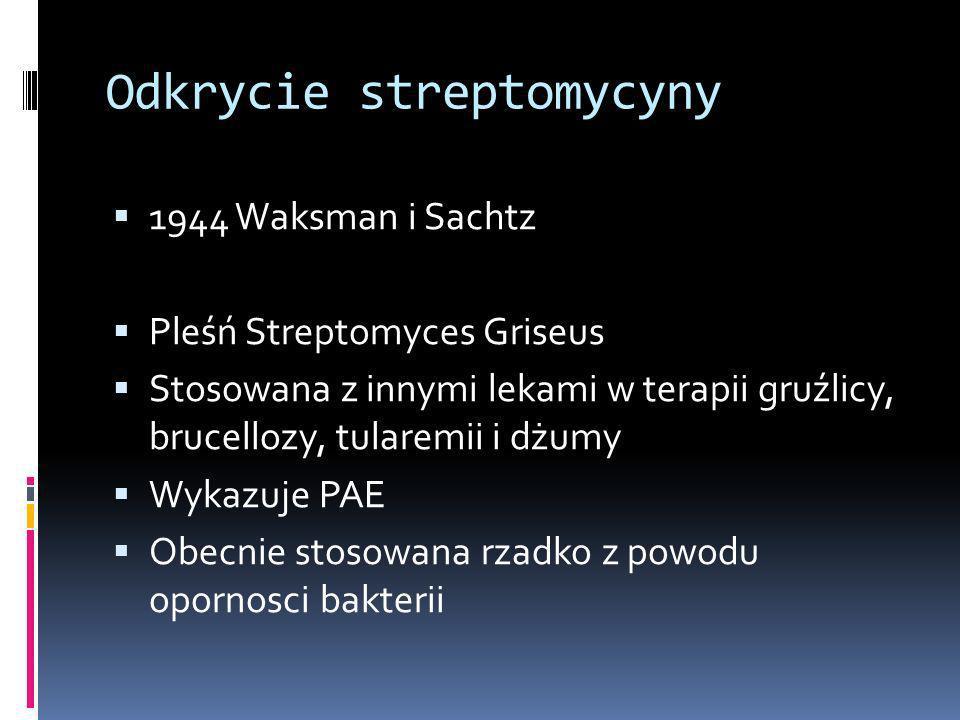 Odkrycie streptomycyny 1944 Waksman i Sachtz Pleśń Streptomyces Griseus Stosowana z innymi lekami w terapii gruźlicy, brucellozy, tularemii i dżumy Wy