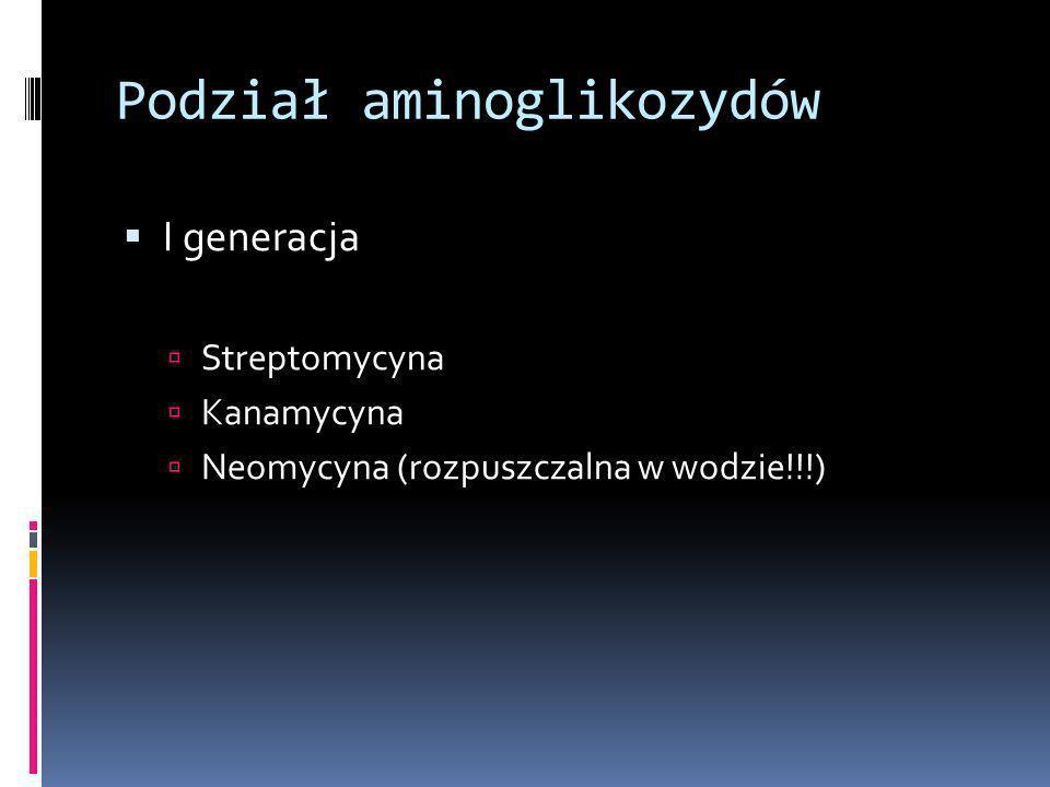 Podział aminoglikozydów I generacja Streptomycyna Kanamycyna Neomycyna (rozpuszczalna w wodzie!!!)