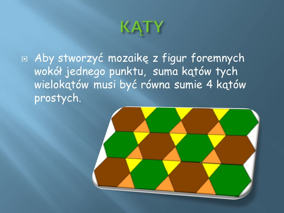 Aby stworzyć mozaikę z figur foremnych wokół jednego punktu, suma kątów tych wielokątów musi być równa sumie 4 kątów prostych.