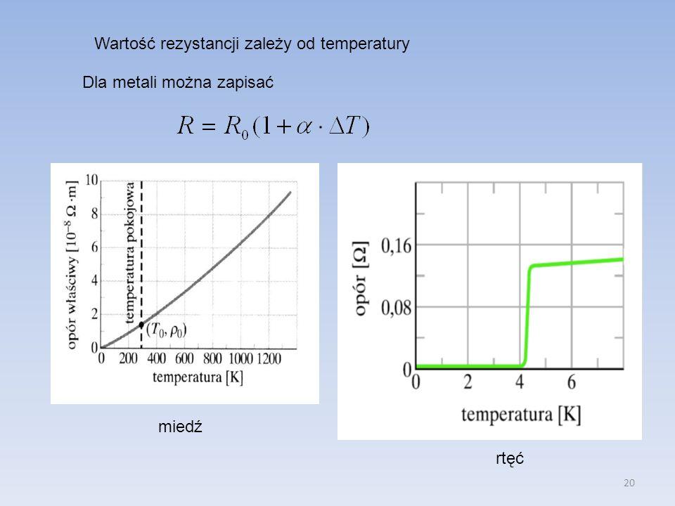20 Wartość rezystancji zależy od temperatury Dla metali można zapisać miedź rtęć