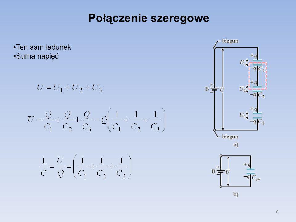 7 Energia kondensatora Początkowo nie naładowany kondensator ładuje się od 0 do napięcia U.