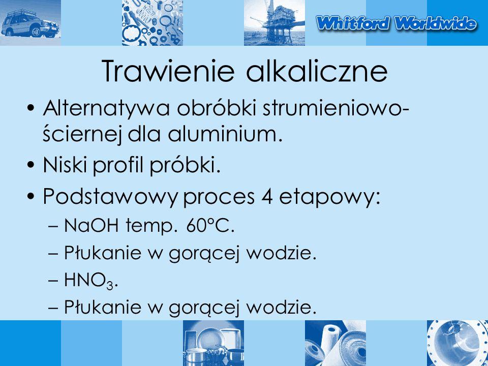 Trawienie alkaliczne Alternatywa obróbki strumieniowo- ściernej dla aluminium. Niski profil próbki. Podstawowy proces 4 etapowy: –NaOH temp. 60°C. –Pł