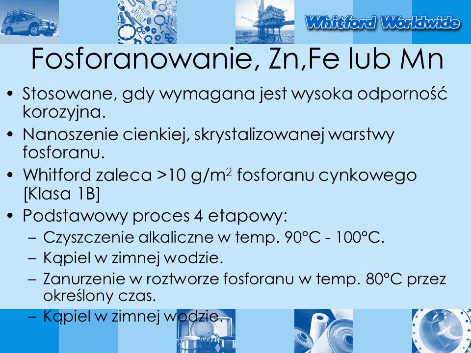 Fosforanowanie, Zn,Fe lub Mn Stosowane, gdy wymagana jest wysoka odporność korozyjna. Nanoszenie cienkiej, skrystalizowanej warstwy fosforanu. Whitfor