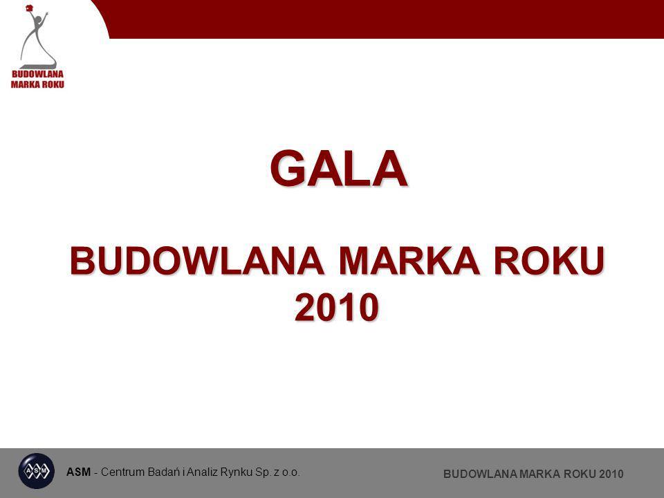 ASM - Centrum Badań i Analiz Rynku Sp. z o.o. BUDOWLANA MARKA ROKU 2010 PATRONI MEDIALNI