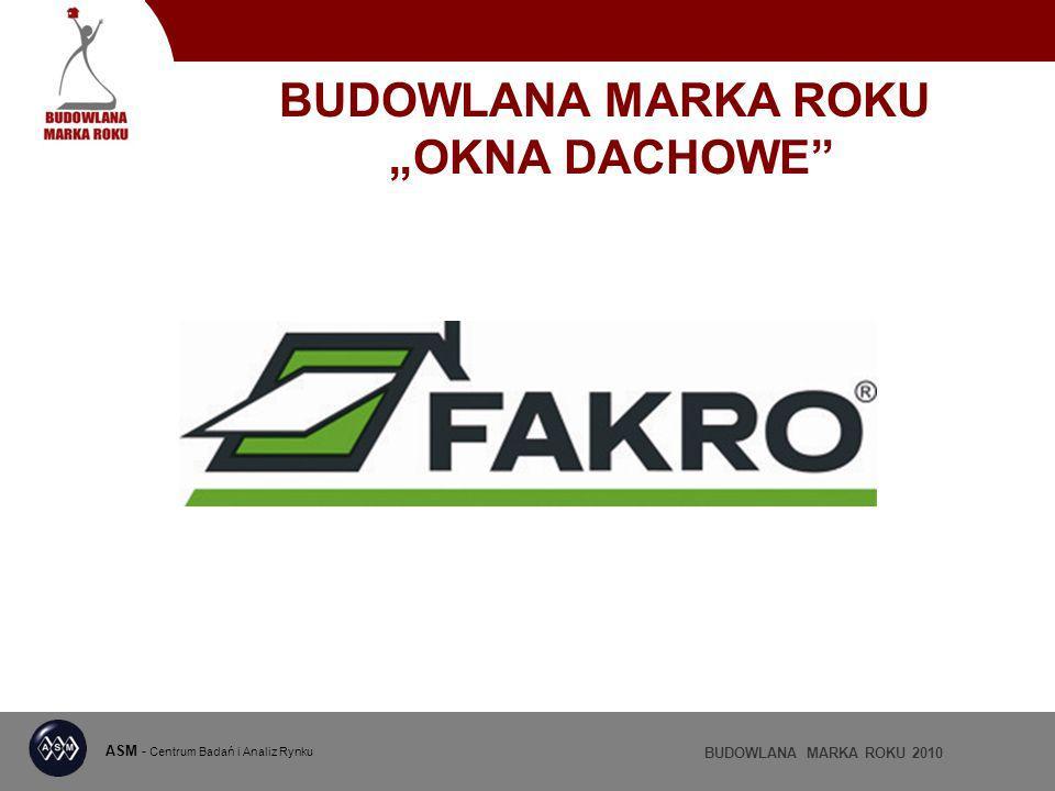 ASM - Centrum Badań i Analiz Rynku BUDOWLANA MARKA ROKU 2010 BUDOWLANA MARKA ROKU OKNA DACHOWE