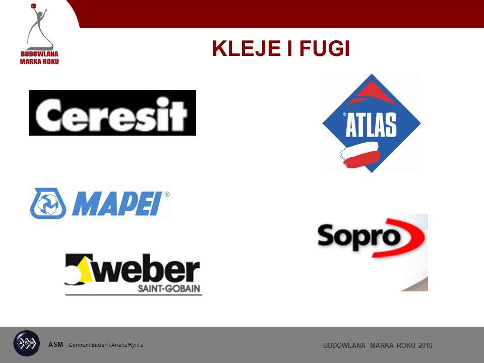 ASM - Centrum Badań i Analiz Rynku BUDOWLANA MARKA ROKU 2010 KLEJE I FUGI