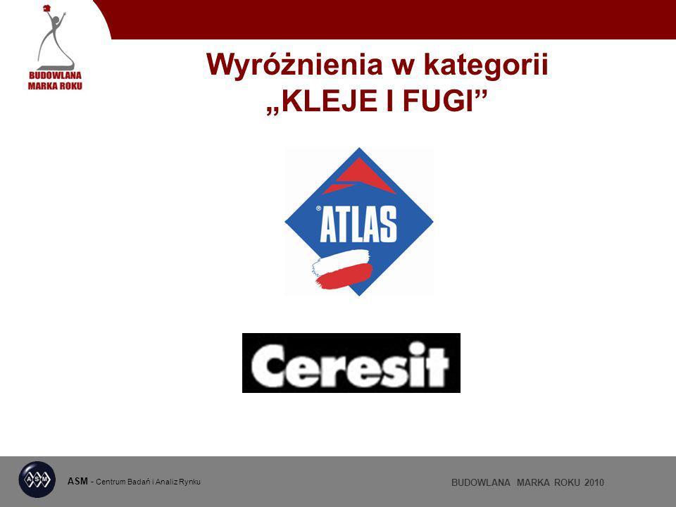 ASM - Centrum Badań i Analiz Rynku BUDOWLANA MARKA ROKU 2010 Wyróżnienia w kategorii KLEJE I FUGI