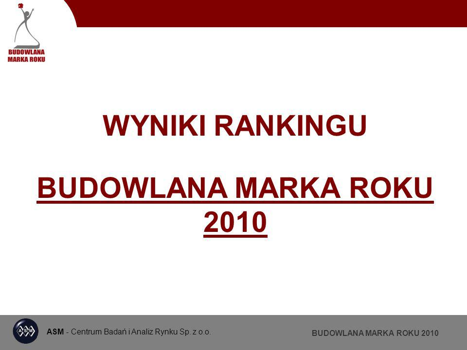 ASM - Centrum Badań i Analiz Rynku BUDOWLANA MARKA ROKU 2010 MATERIAŁY WZNOSZENIOWE