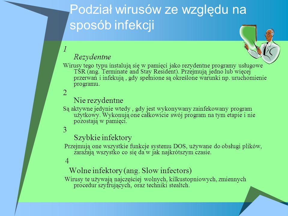 Podział wirusów ze względu na sposób infekcji 1 Rezydentne Wirusy tego typu instalują się w pamięci jako rezydentne programy usługowe TSR (ang. Termin