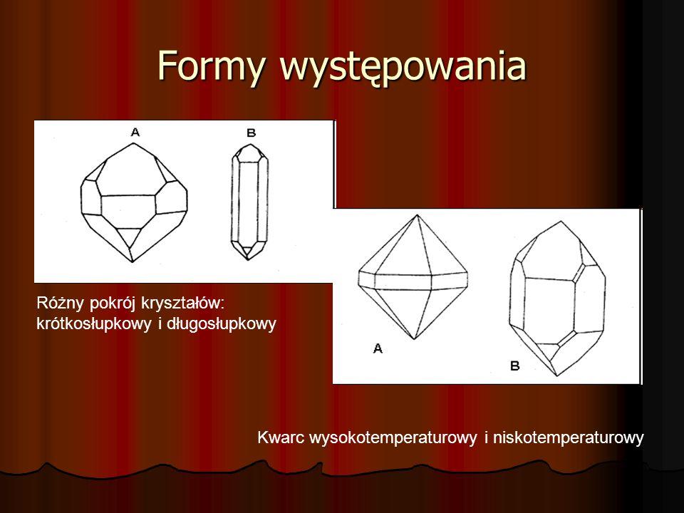 Formy występowania Różny pokrój kryształów: krótkosłupkowy i długosłupkowy Kwarc wysokotemperaturowy i niskotemperaturowy