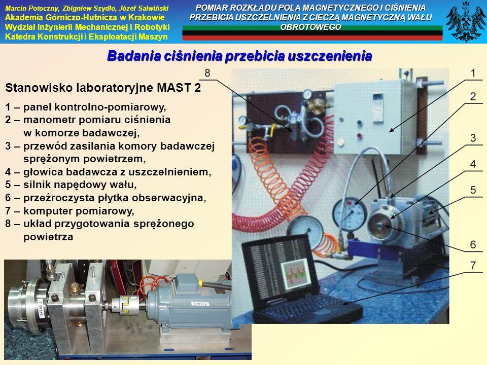 Badania ciśnienia przebicia uszczenienia Stanowisko laboratoryjne MAST 2 1 – panel kontrolno-pomiarowy, 2 – manometr pomiaru ciśnienia w komorze badaw