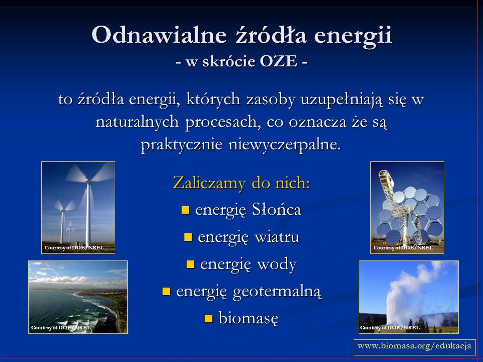 Odnawialne źródła energii - w skrócie OZE - to źródła energii, których zasoby uzupełniają się w naturalnych procesach, co oznacza że są praktycznie ni