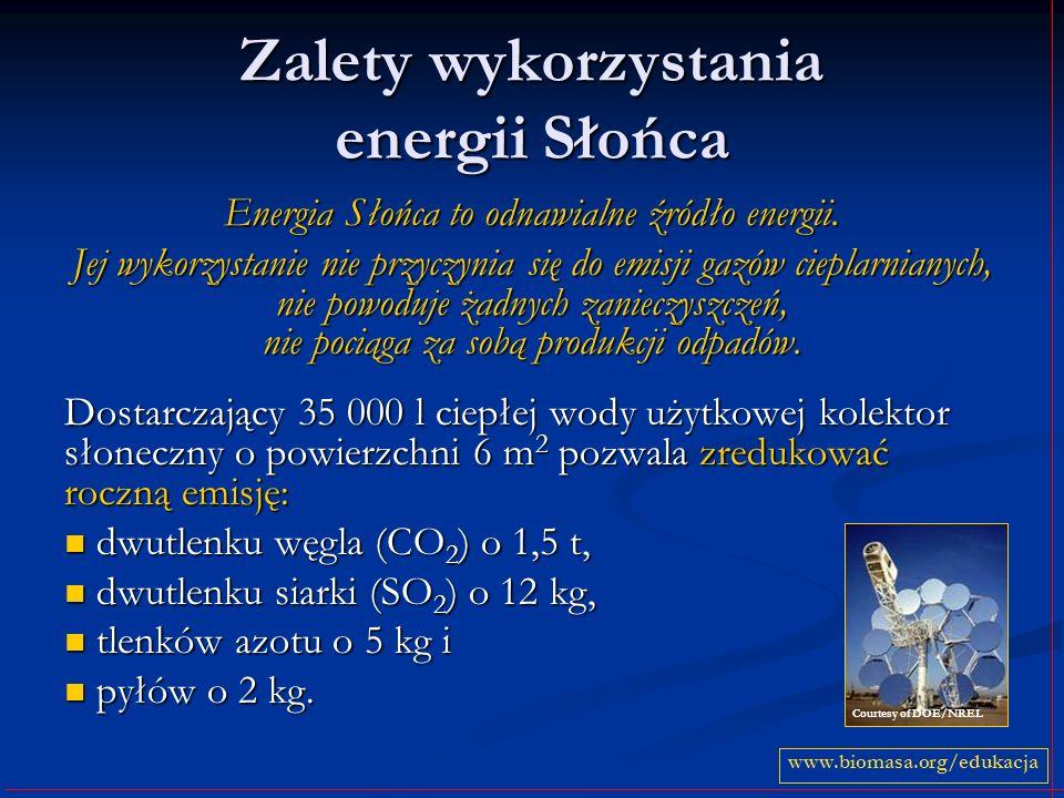 Zalety wykorzystania energii Słońca Energia Słońca to odnawialne źródło energii. Jej wykorzystanie nie przyczynia się do emisji gazów cieplarnianych,