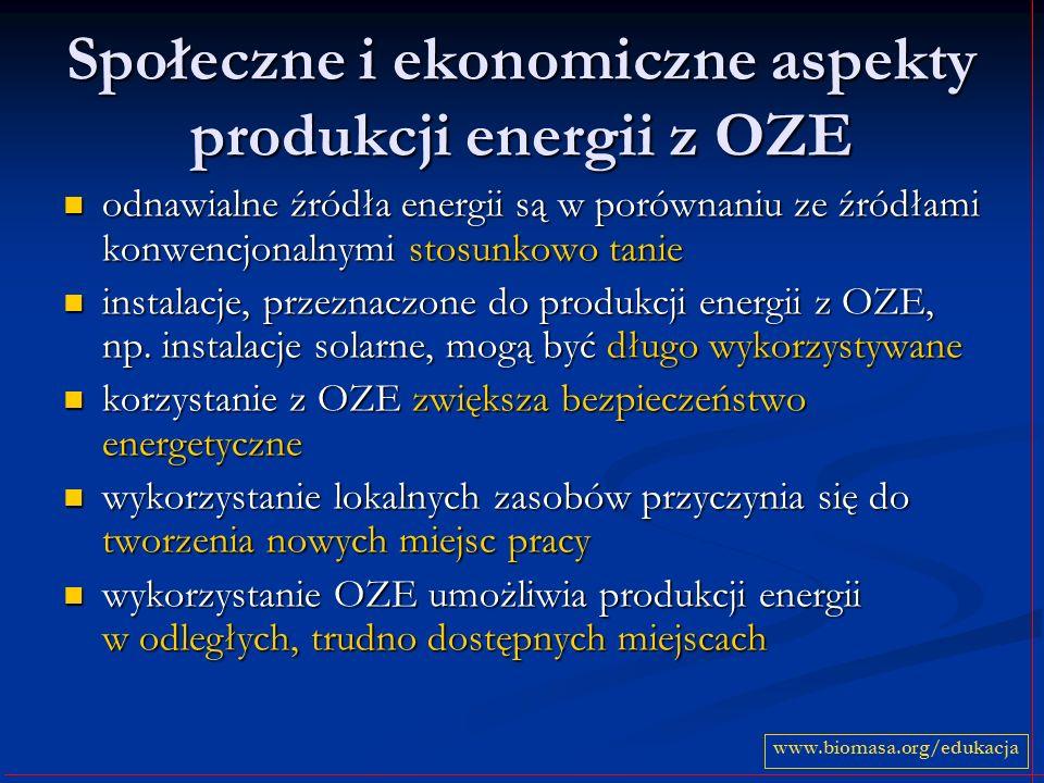 Społeczne i ekonomiczne aspekty produkcji energii z OZE odnawialne źródła energii są w porównaniu ze źródłami konwencjonalnymi stosunkowo tanie odnawi
