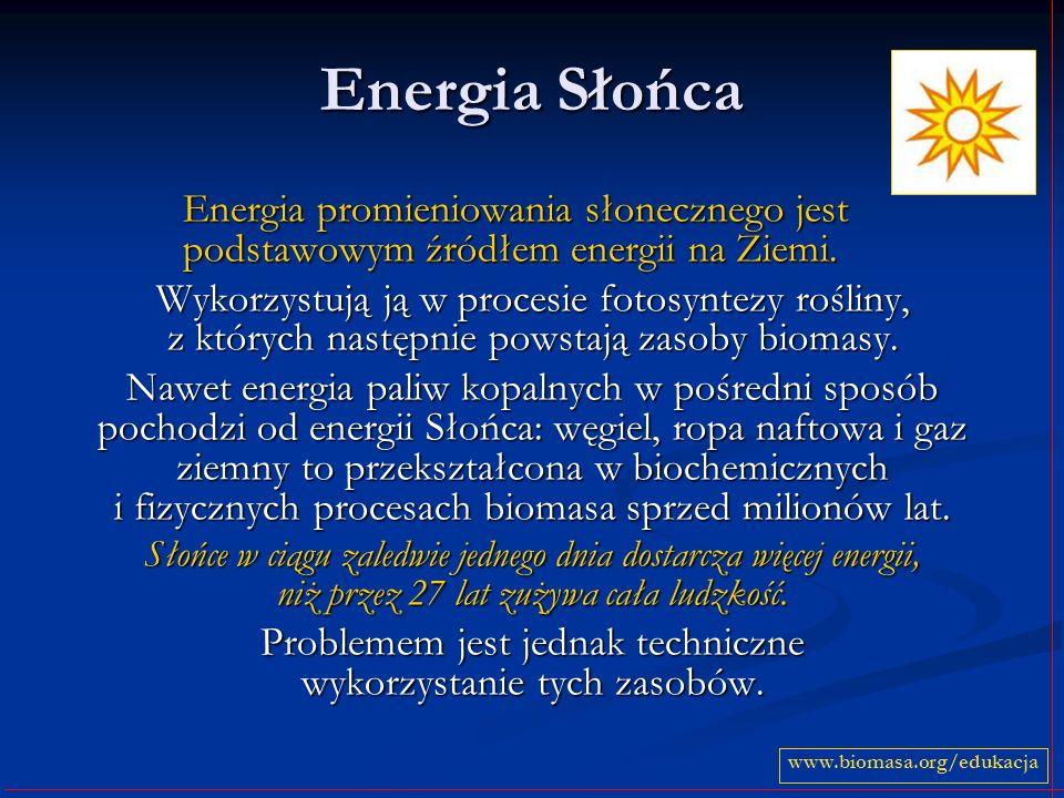 Energia Słońca Energia promieniowania słonecznego jest podstawowym źródłem energii na Ziemi. Wykorzystują ją w procesie fotosyntezy rośliny, z których