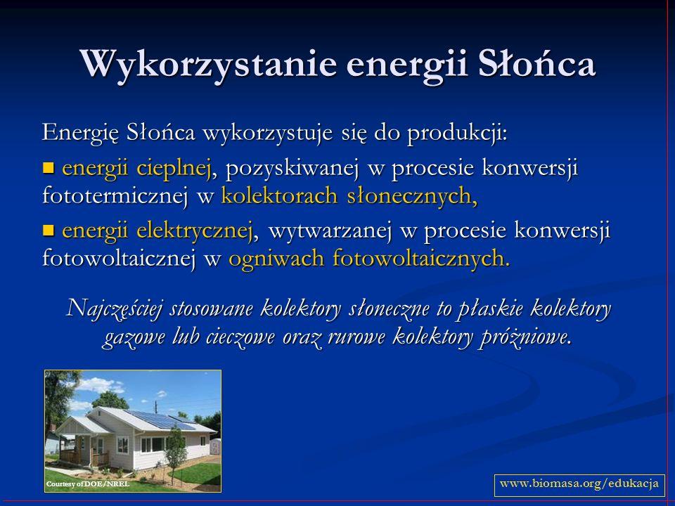 Wykorzystanie energii Słońca Energię Słońca wykorzystuje się do produkcji: energii cieplnej, pozyskiwanej w procesie konwersji fototermicznej w kolekt