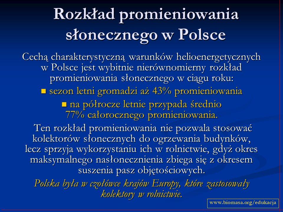 Rozkład promieniowania słonecznego w Polsce Cechą charakterystyczną warunków helioenergetycznych w Polsce jest wybitnie nierównomierny rozkład promien