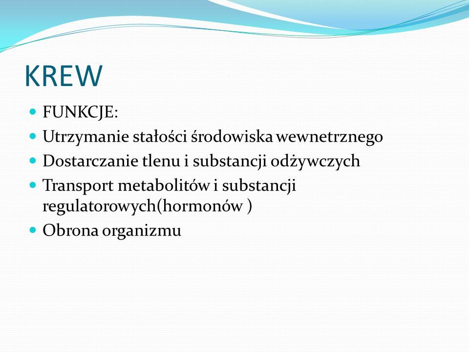 KREW FUNKCJE: Utrzymanie stałości środowiska wewnetrznego Dostarczanie tlenu i substancji odżywczych Transport metabolitów i substancji regulatorowych