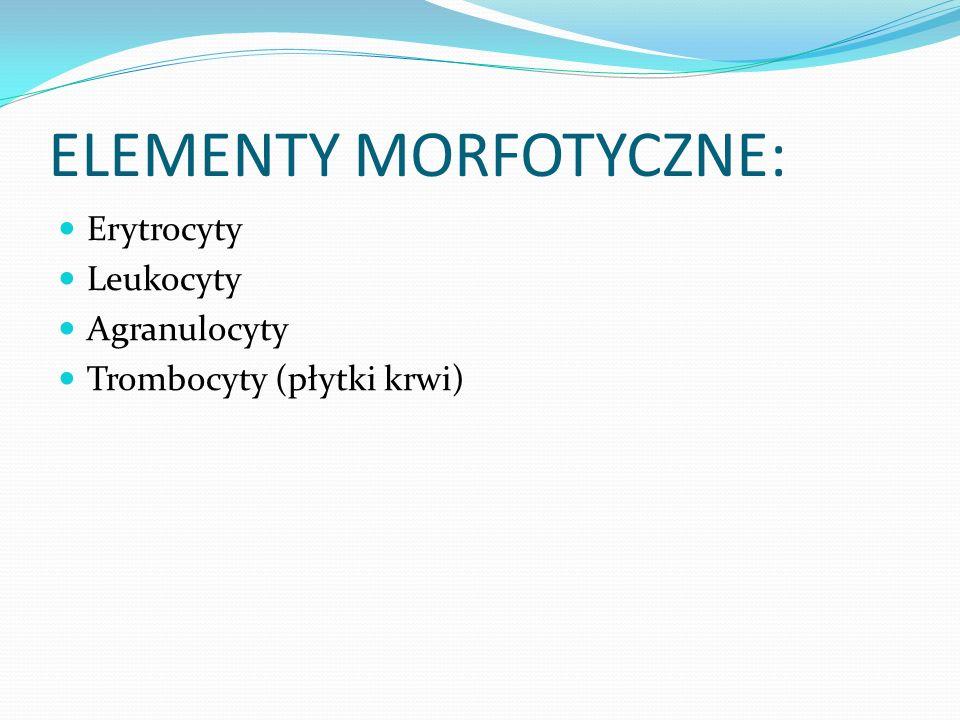 ELEMENTY MORFOTYCZNE: Erytrocyty Leukocyty Agranulocyty Trombocyty (płytki krwi)