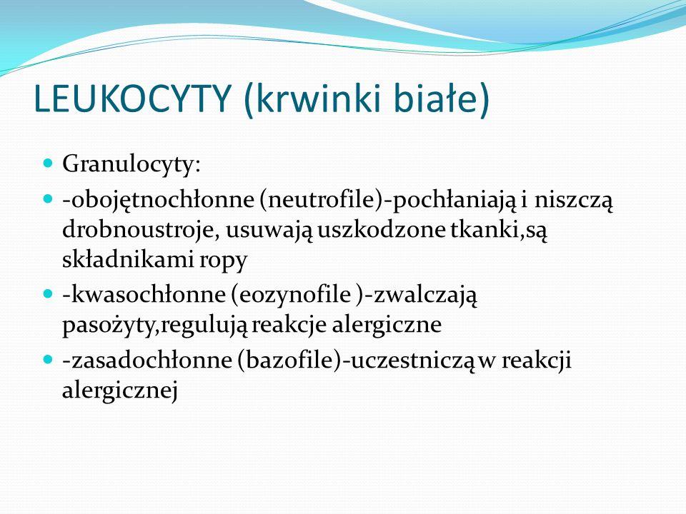 LEUKOCYTY (krwinki białe) Granulocyty: -obojętnochłonne (neutrofile)-pochłaniają i niszczą drobnoustroje, usuwają uszkodzone tkanki,są składnikami rop