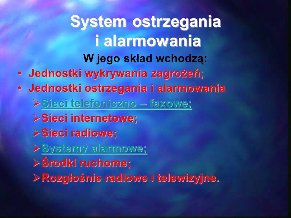 System ostrzegania i alarmowania W jego skład wchodzą: Jednostki wykrywania zagrożeń;Jednostki wykrywania zagrożeń; Jednostki ostrzegania i alarmowani