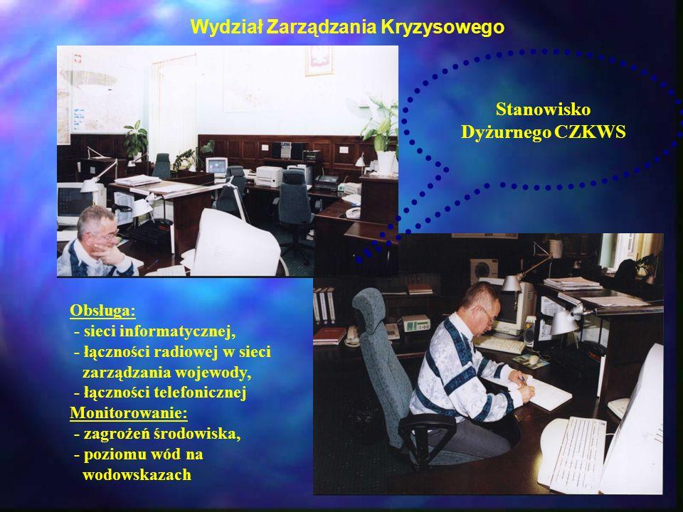 Wydział Zarządzania Kryzysowego Stanowisko Dyżurnego CZKWS Obsługa: - sieci informatycznej, - łączności radiowej w sieci zarządzania wojewody, - łączn