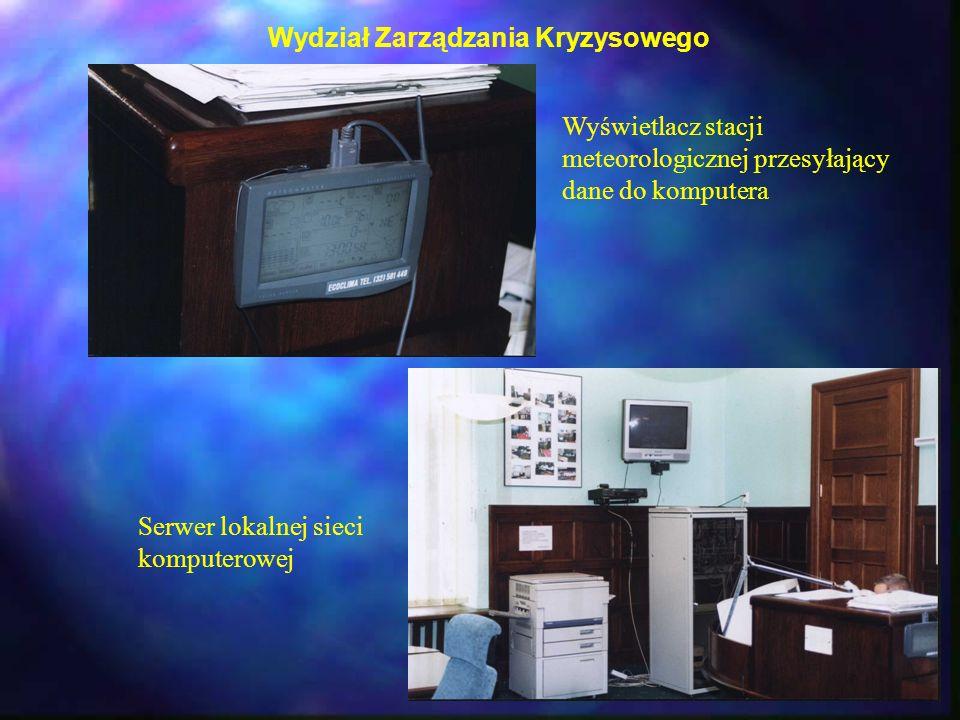 Wydział Zarządzania Kryzysowego Wyświetlacz stacji meteorologicznej przesyłający dane do komputera Serwer lokalnej sieci komputerowej