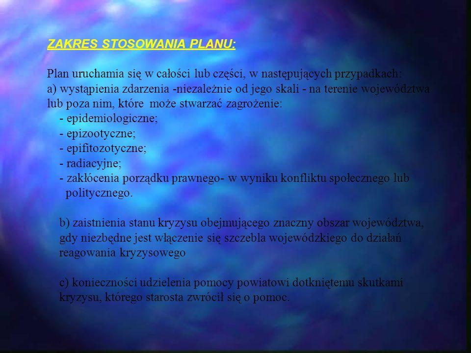 ZAKRES STOSOWANIA PLANU: Plan uruchamia się w całości lub części, w następujących przypadkach: a) wystąpienia zdarzenia -niezależnie od jego skali - n