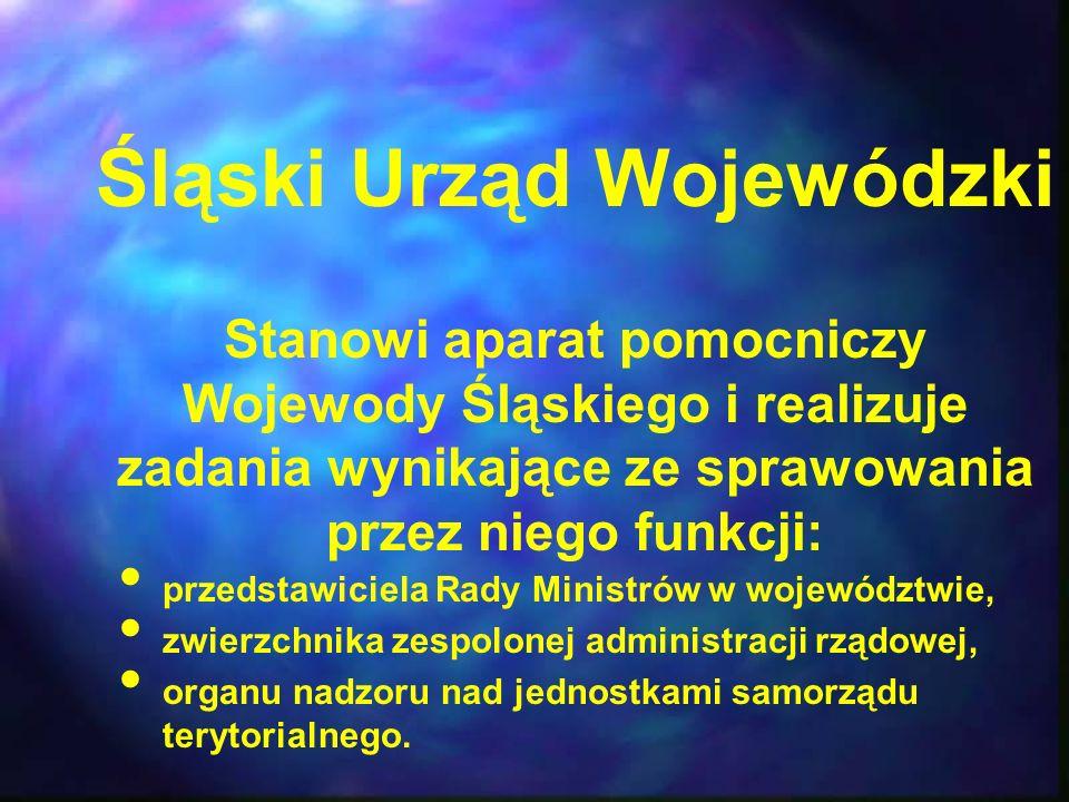 Śląski Urząd Wojewódzki Stanowi aparat pomocniczy Wojewody Śląskiego i realizuje zadania wynikające ze sprawowania przez niego funkcji: przedstawiciel