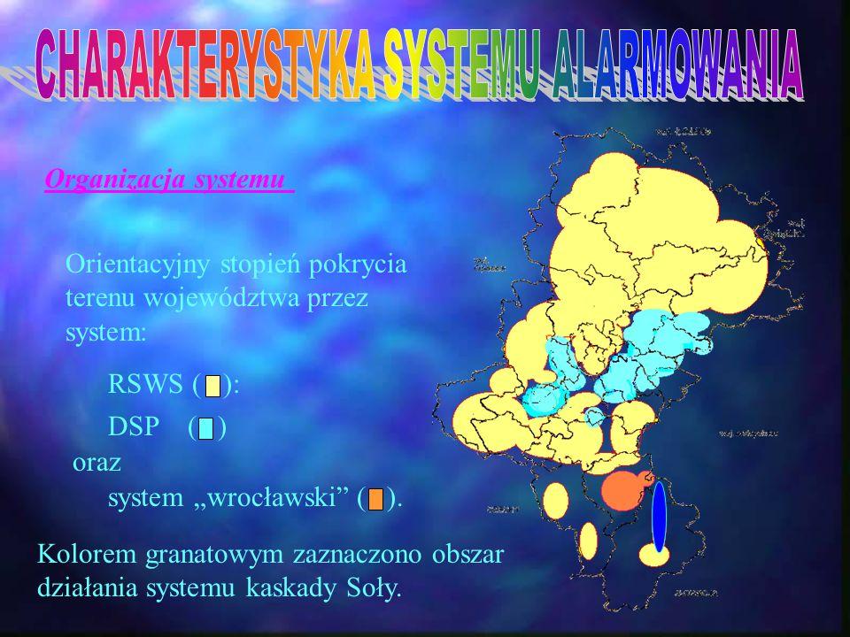 Organizacja systemu Orientacyjny stopień pokrycia terenu województwa przez system: Kolorem granatowym zaznaczono obszar działania systemu kaskady Soły