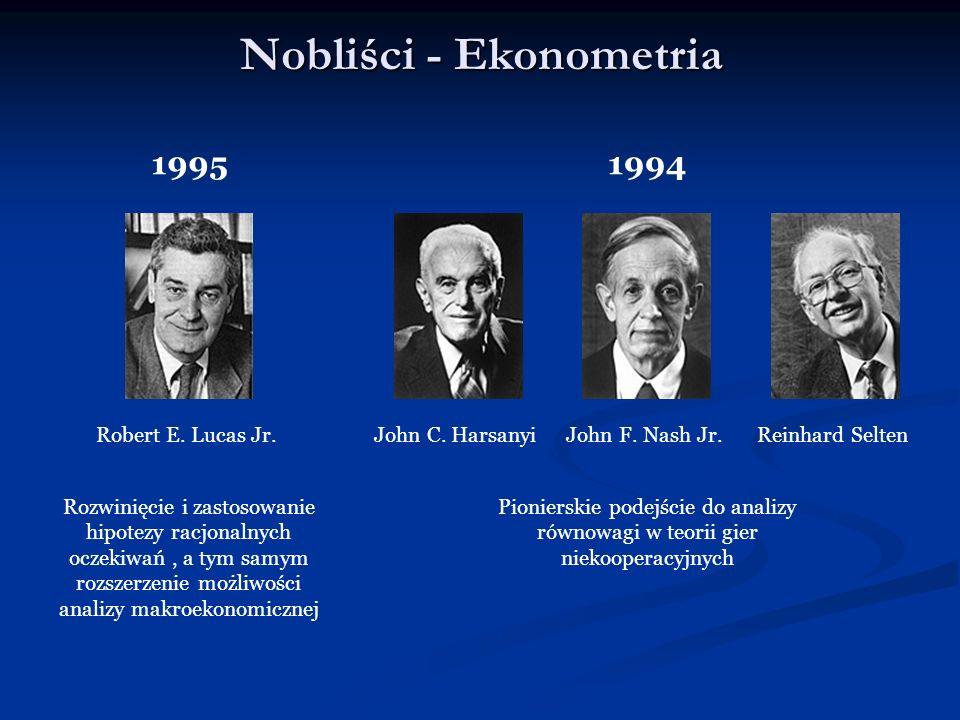 Nobliści - Ekonometria 19951994 John F. Nash Jr.John C. HarsanyiRobert E. Lucas Jr.Reinhard Selten Pionierskie podejście do analizy równowagi w teorii