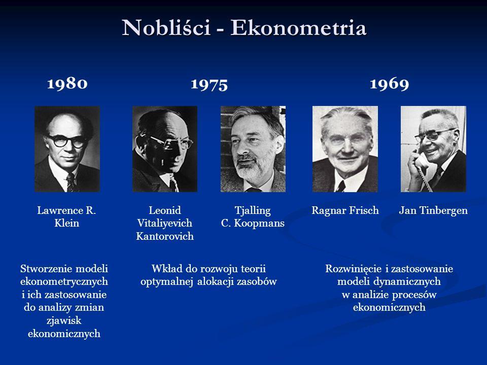 Nobliści - Ekonometria 1980 1975 1969 Lawrence R. Klein Leonid Vitaliyevich Kantorovich Tjalling C. Koopmans Ragnar FrischJan Tinbergen Stworzenie mod