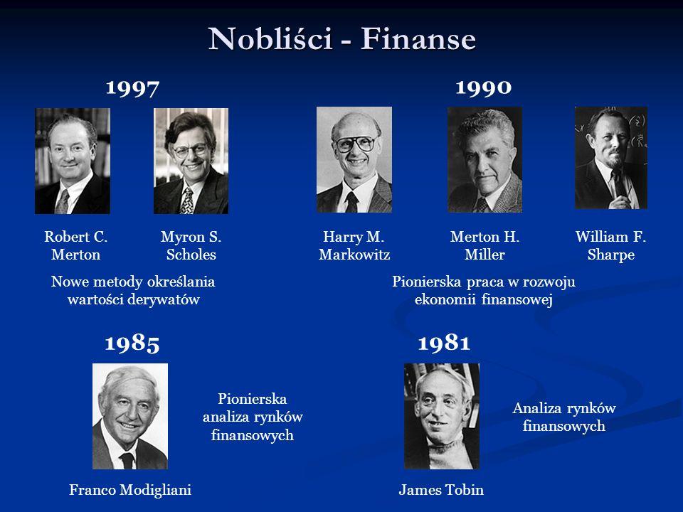 Nobliści - Finanse 19971990 Myron S. Scholes Robert C. Merton Harry M. Markowitz Merton H. Miller William F. Sharpe Nowe metody określania wartości de