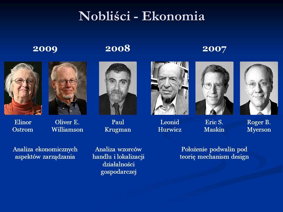 Nobliści - Ekonomia 2009 Elinor Ostrom Oliver E. Williamson Analiza ekonomicznych aspektów zarządzania 2007 Eric S. Maskin Roger B. Myerson Leonid Hur