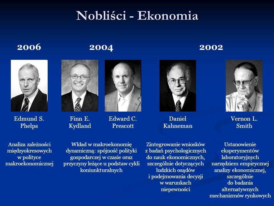 Nobliści - Ekonomia 2004 Finn E. Kydland Edward C. Prescott Wkład w makroekonomię dynamiczną: spójność polityki gospodarczej w czasie oraz przyczyny l