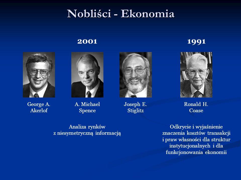Nobliści - Ekonomia 2001 George A. Akerlof Ronald H. Coase 1991 Odkrycie i wyjaśnienie znaczenia kosztów transakcji i praw własności dla struktur inst