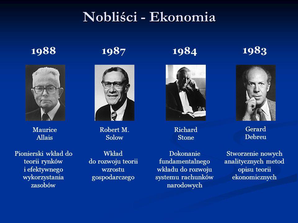 Nobliści - Ekonomia Maurice Allais 1988 Pionierski wkład do teorii rynków i efektywnego wykorzystania zasobów Robert M. Solow 1987 Wkład do rozwoju te