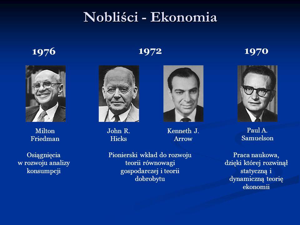 Nobliści - Ekonomia Milton Friedman 1976 Osiągnięcia w rozwoju analizy konsumpcji John R. Hicks 1972 Pionierski wkład do rozwoju teorii równowagi gosp