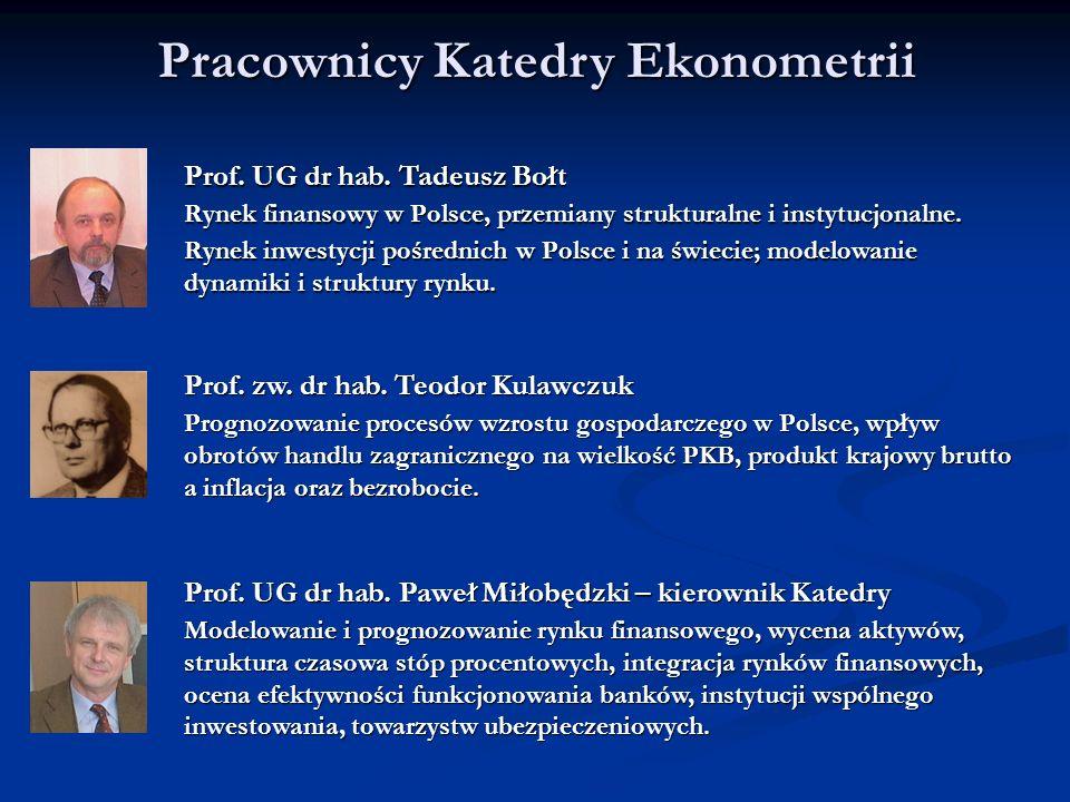 Pracownicy Katedry Ekonometrii Prof. UG dr hab. Tadeusz Bołt Rynek finansowy w Polsce, przemiany strukturalne i instytucjonalne. Rynek inwestycji pośr