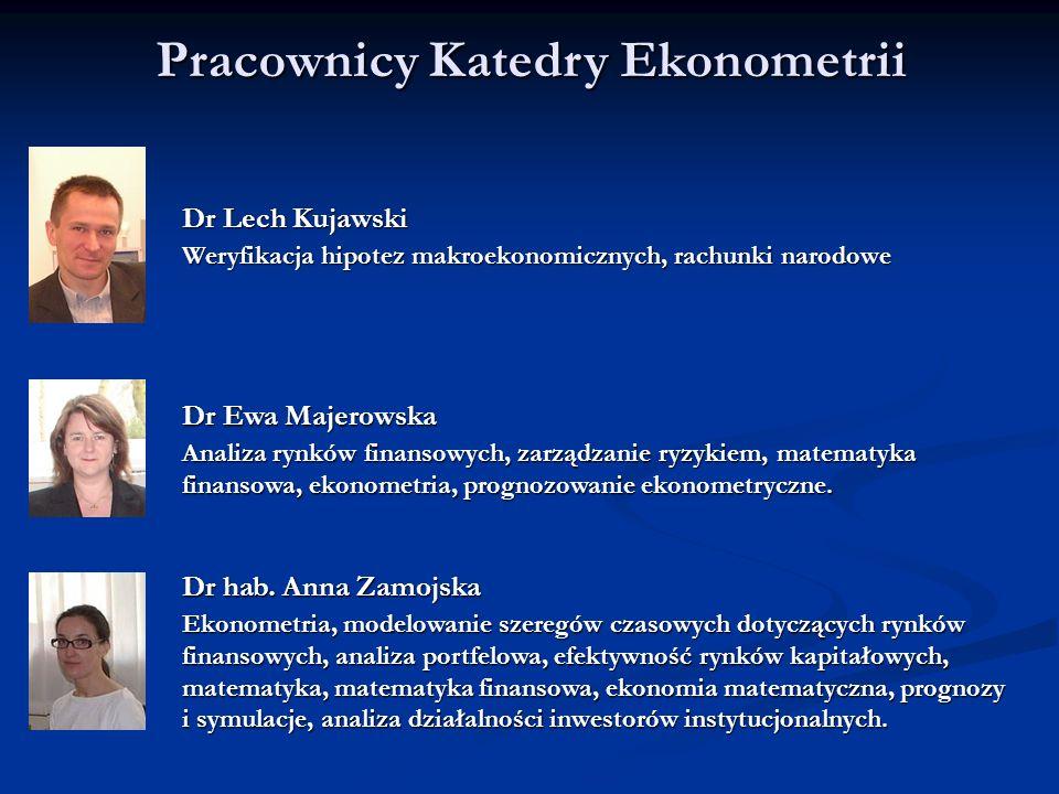 Pracownicy Katedry Ekonometrii Dr Lech Kujawski Weryfikacja hipotez makroekonomicznych, rachunki narodowe Dr Ewa Majerowska Analiza rynków finansowych
