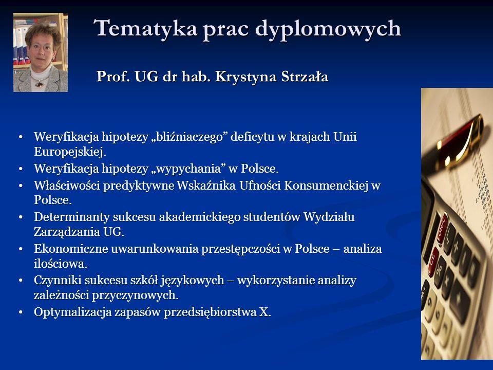 Tematyka prac dyplomowych Prof. UG dr hab. Krystyna Strzała Weryfikacja hipotezy bliźniaczego deficytu w krajach Unii Europejskiej. Weryfikacja hipote
