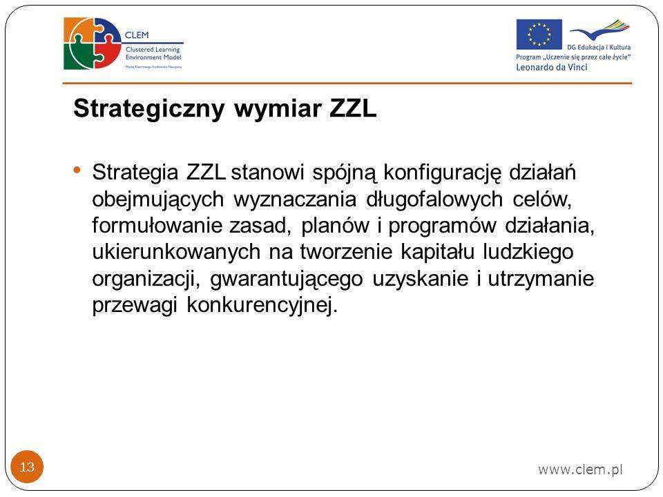 Strategiczny wymiar ZZL www.clem.pl 13 Strategia ZZL stanowi spójną konfigurację działań obejmujących wyznaczania długofalowych celów, formułowanie zasad, planów i programów działania, ukierunkowanych na tworzenie kapitału ludzkiego organizacji, gwarantującego uzyskanie i utrzymanie przewagi konkurencyjnej.