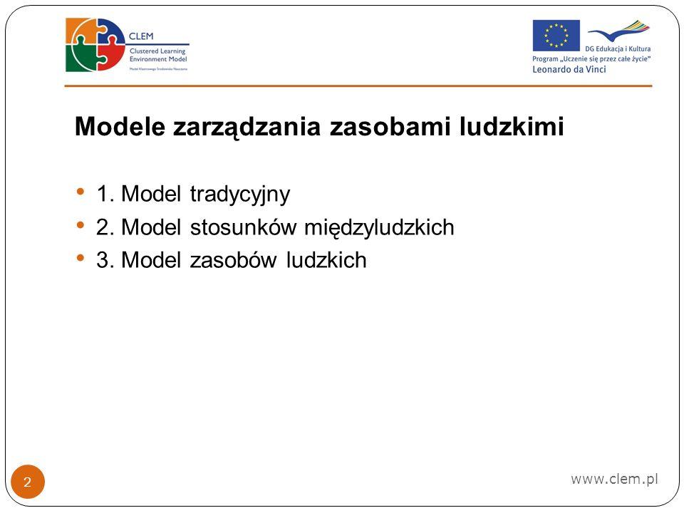 Modele zarządzania zasobami ludzkimi www.clem.pl 2 1.