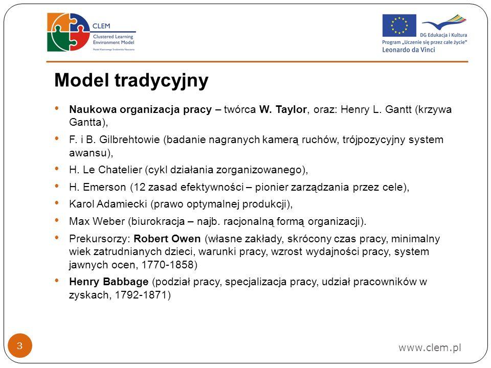Model tradycyjny www.clem.pl 3 Naukowa organizacja pracy – twórca W.