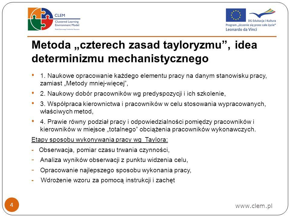www.clem.pl 4 Metoda czterech zasad tayloryzmu, idea determinizmu mechanistycznego 1.