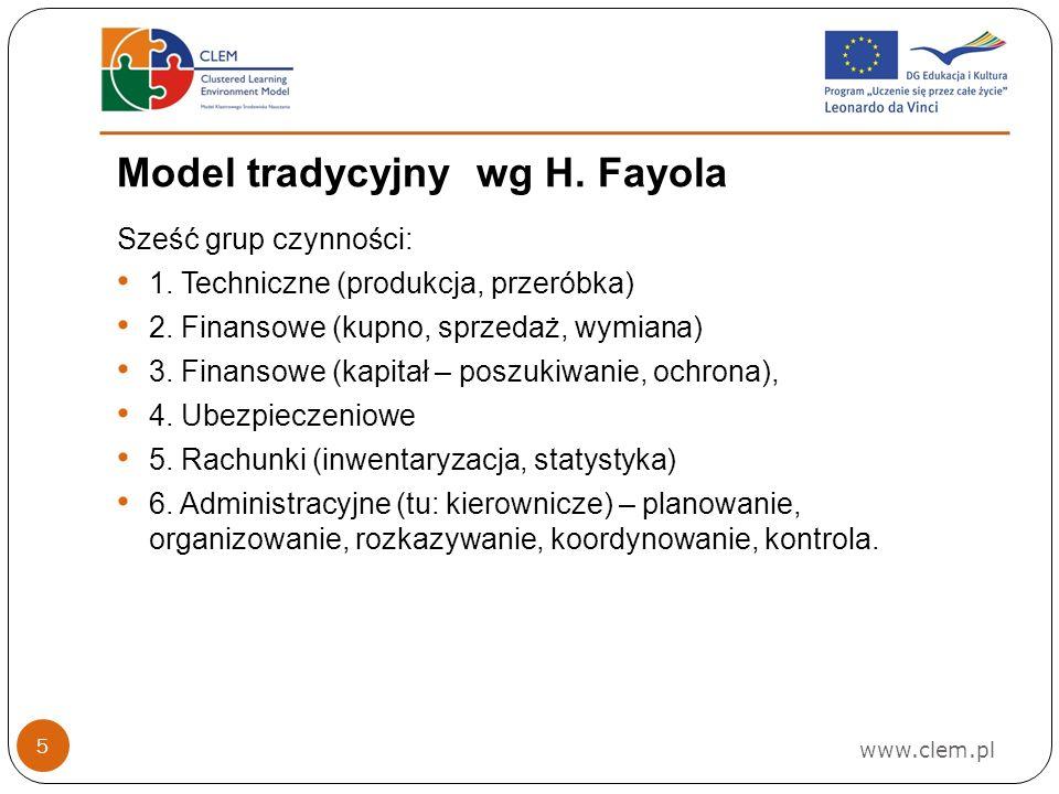 www.clem.pl 5 Model tradycyjny wg H.Fayola Sześć grup czynności: 1.