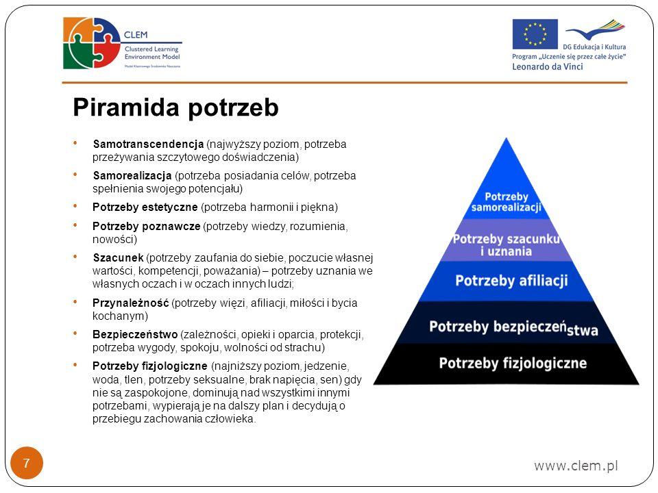www.clem.pl 7 Piramida potrzeb Samotranscendencja (najwyższy poziom, potrzeba przeżywania szczytowego doświadczenia) Samorealizacja (potrzeba posiadania celów, potrzeba spełnienia swojego potencjału) Potrzeby estetyczne (potrzeba harmonii i piękna) Potrzeby poznawcze (potrzeby wiedzy, rozumienia, nowości) Szacunek (potrzeby zaufania do siebie, poczucie własnej wartości, kompetencji, poważania) – potrzeby uznania we własnych oczach i w oczach innych ludzi; Przynależność (potrzeby więzi, afiliacji, miłości i bycia kochanym) Bezpieczeństwo (zależności, opieki i oparcia, protekcji, potrzeba wygody, spokoju, wolności od strachu) Potrzeby fizjologiczne (najniższy poziom, jedzenie, woda, tlen, potrzeby seksualne, brak napięcia, sen) gdy nie są zaspokojone, dominują nad wszystkimi innymi potrzebami, wypierają je na dalszy plan i decydują o przebiegu zachowania człowieka.